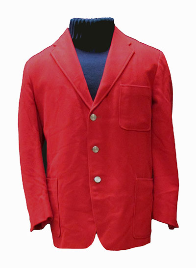 Red Flannel Sport Coat (1965) Gift of Bernette<br />Plaid Polyester Trousers (1960s ) Gift of Kaufmann