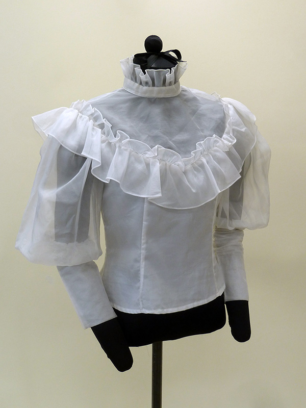 Polyester Blouse with Imitation Standing Ruff and Melon Sleeves (1984) Missouri Historic Costume and Textile Collection, University of Missouri