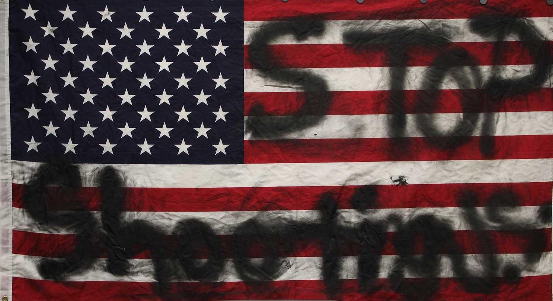 spray painted American flag