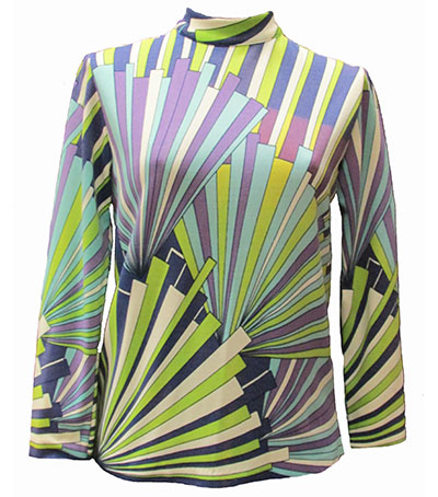 Mult-Colored Abstract Print Polyester Blouse (1960s) Gift of diCiacca
