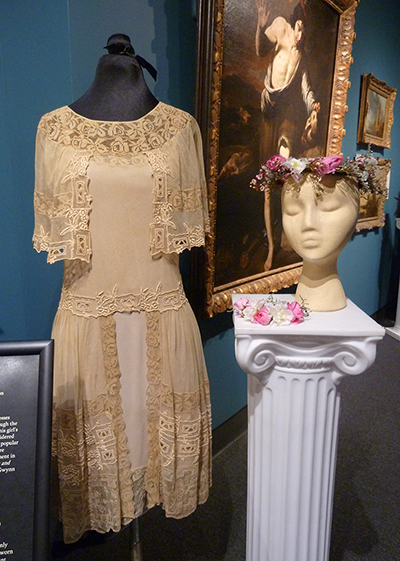 Headpiece and Bracelet by Blake Weaver and Maria Kuhns; Silk Chiffon and Net Dress (1925) MHCTC