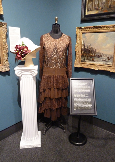 Hat Accent by Brant Francis, Jess Mantel and Mia Polisky; Silk Chiffon and Lace Dress (1920s) MHCTC