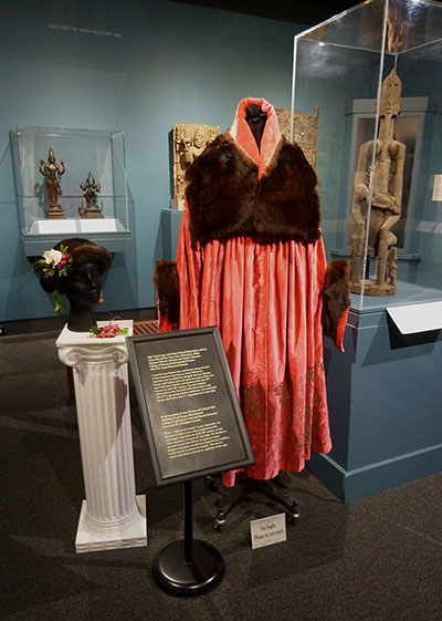 Hat Accent, Earrings and Bracelet by Sara Kitchen and LaKayla Hall; Silk Velvet Cape with Fur Accents (Late 1910s-Early 1920s) MHCTC