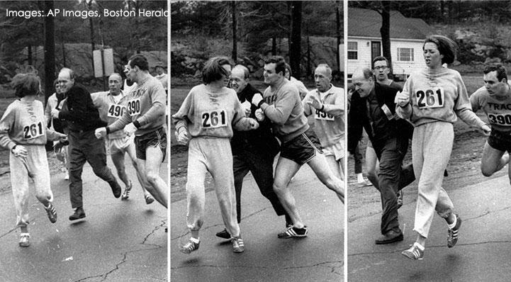 Katherine Switzer at Boston Marathon