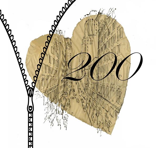 200 inside of gold heart and zipper